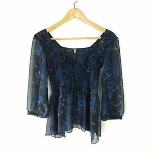 Free People Tunic XS Women's Top Blue Floral